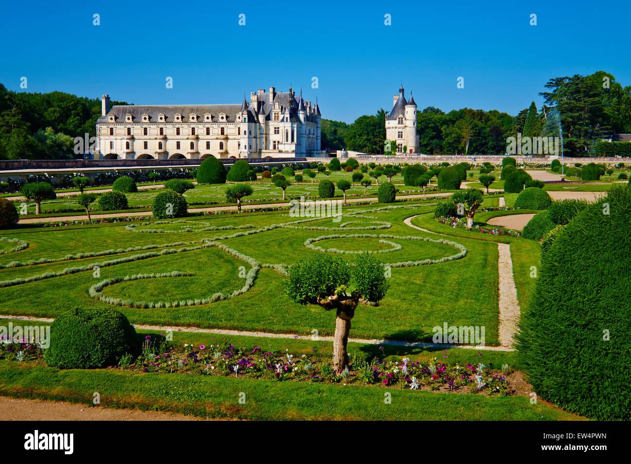 Francia, Indre-et-Loire, el castillo de Chenonceau y el río Cher Imagen De Stock