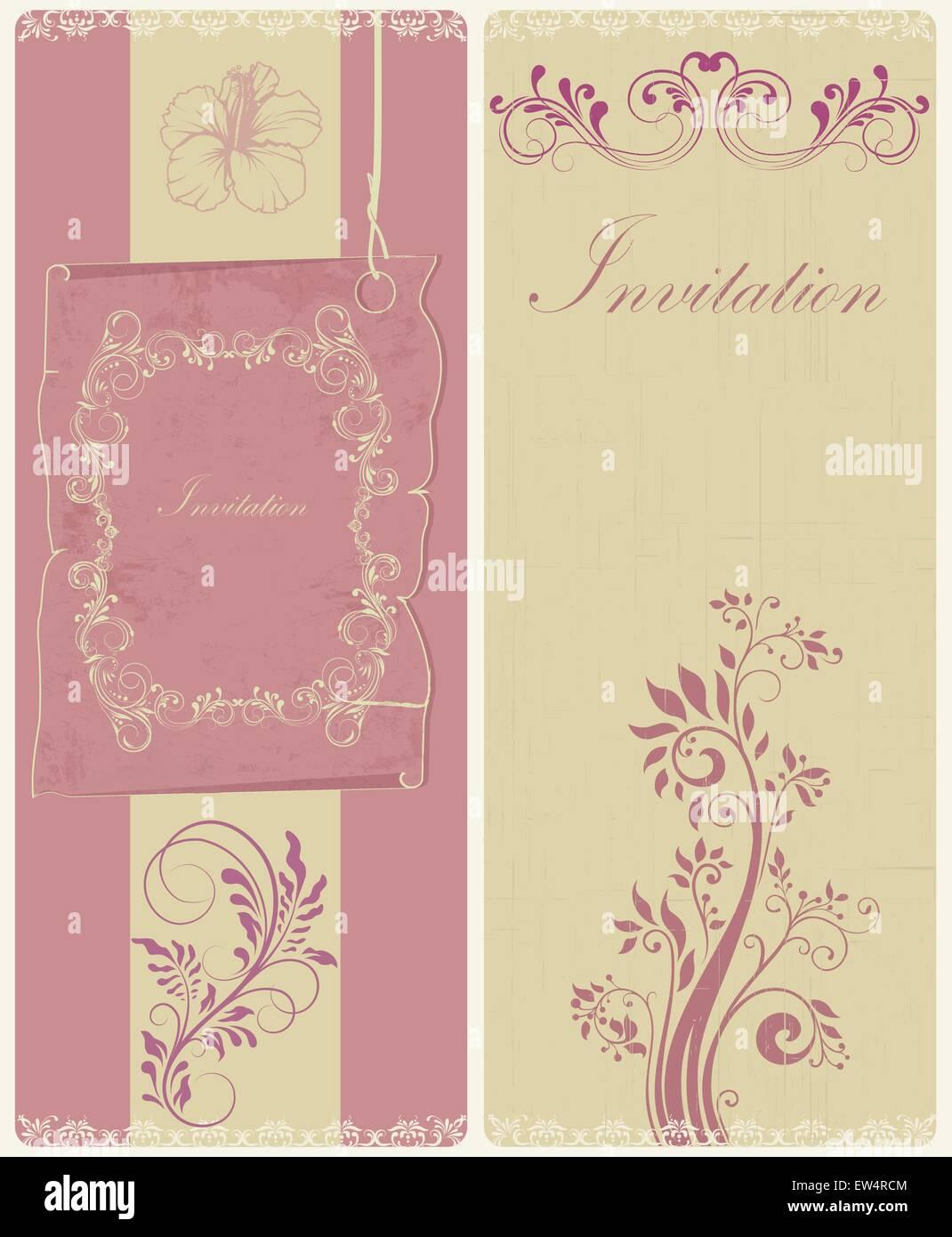 Conjunto De Dos 2 Tarjetas De Invitación Vintage Retro