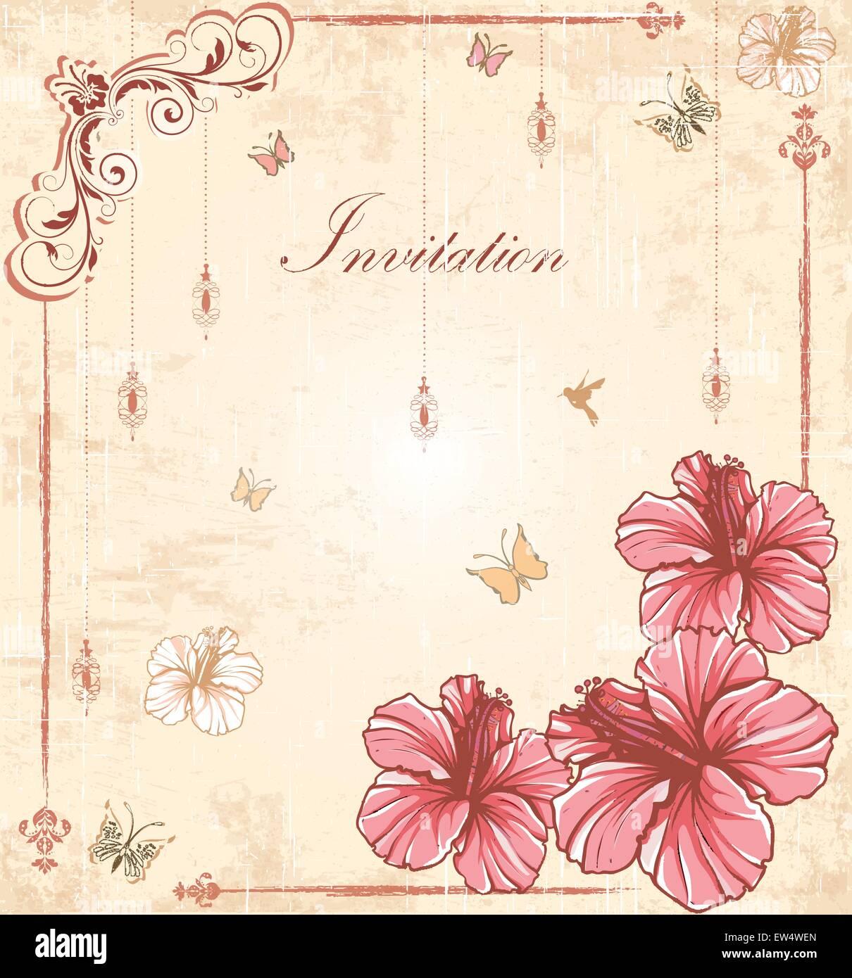 Tarjeta De Invitación Vintage Retro Elegante Adornados Con