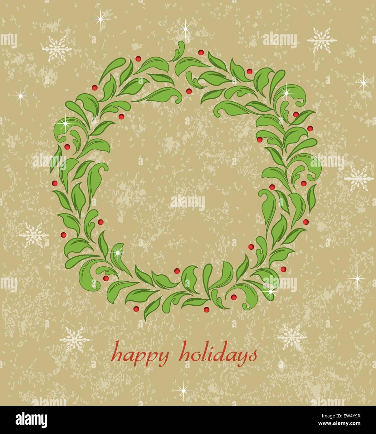 Tarjeta de navidad con ornamentadas Vintage Retro elegante diseño ...