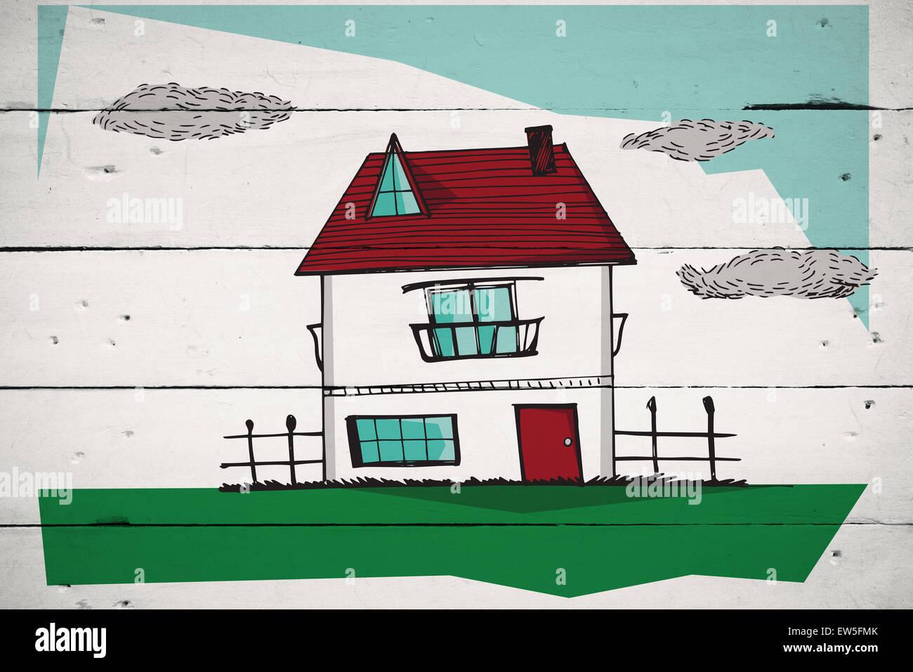 Imagen compuesta de Casa dibujada a mano Foto de stock