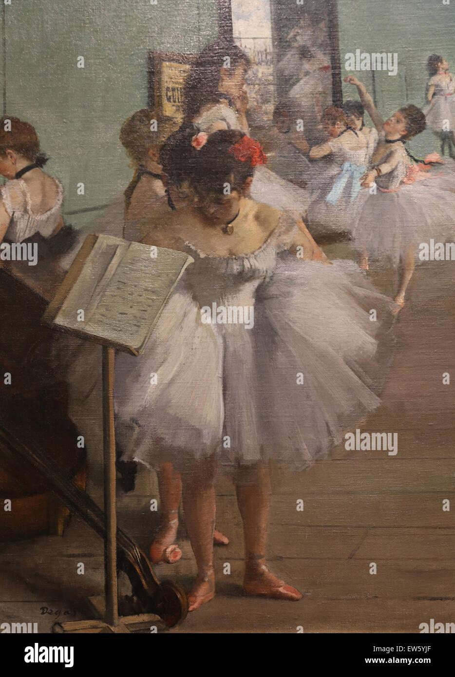 Edgar Degas (1834-1917). El pintor francés. La clase de danza, 1874. Óleo sobre lienzo. Museo Metropolitano de Arte Foto de stock