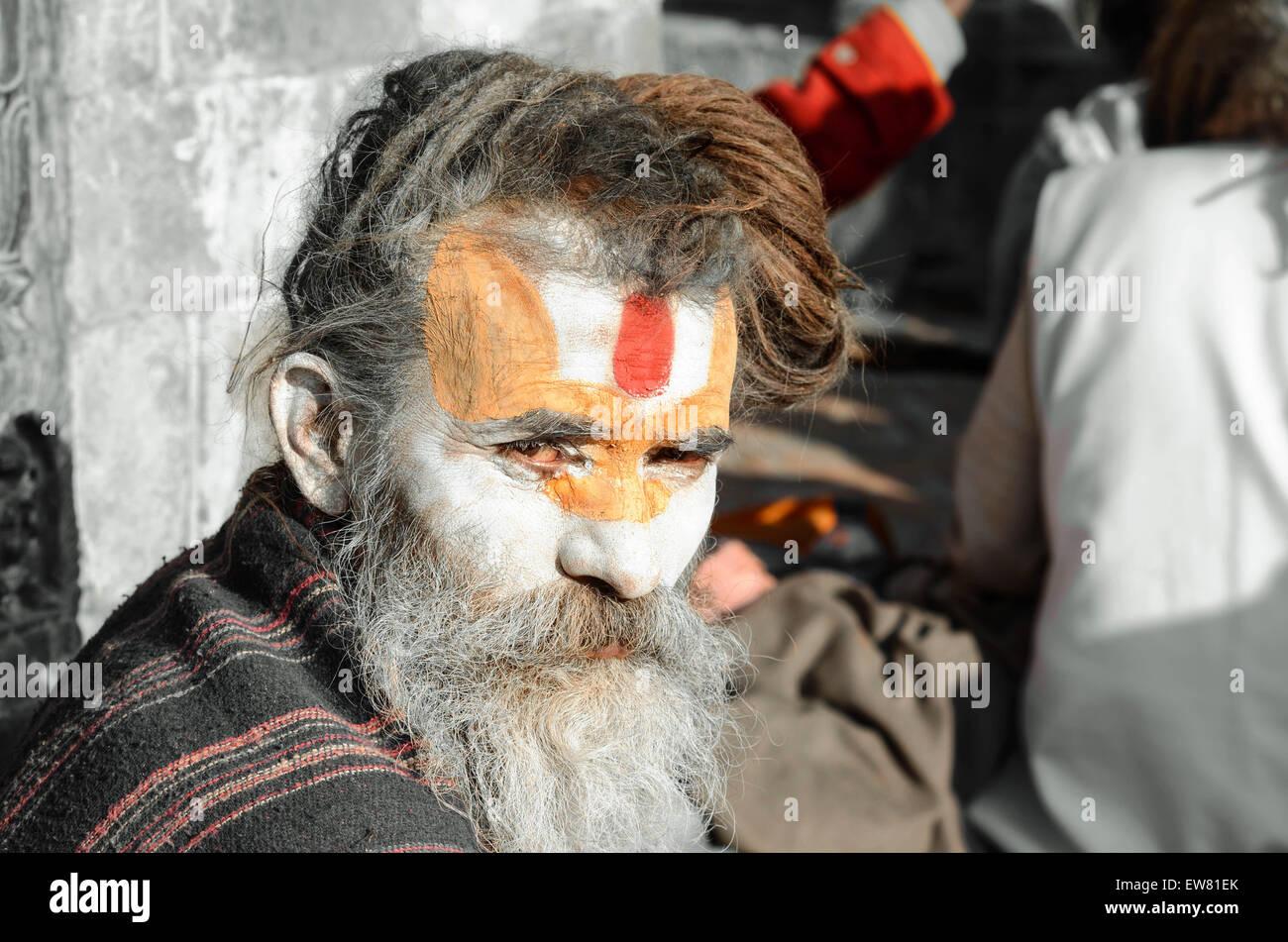 'Culturas' 'viaje' 'viaja' 'viaje' 'Asia' 'Nepal' 'man' Imagen De Stock