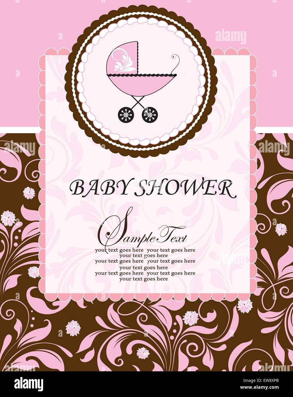 Tarjeta De Invitación De Baby Shower Vintage Adornado Con