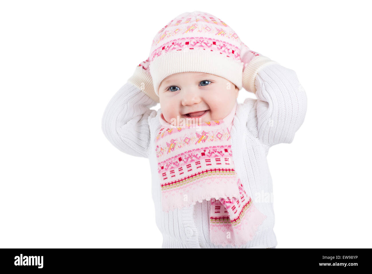 A Girl In A Knitted Hat Imágenes De Stock   A Girl In A Knitted Hat ... f1e3da5c455