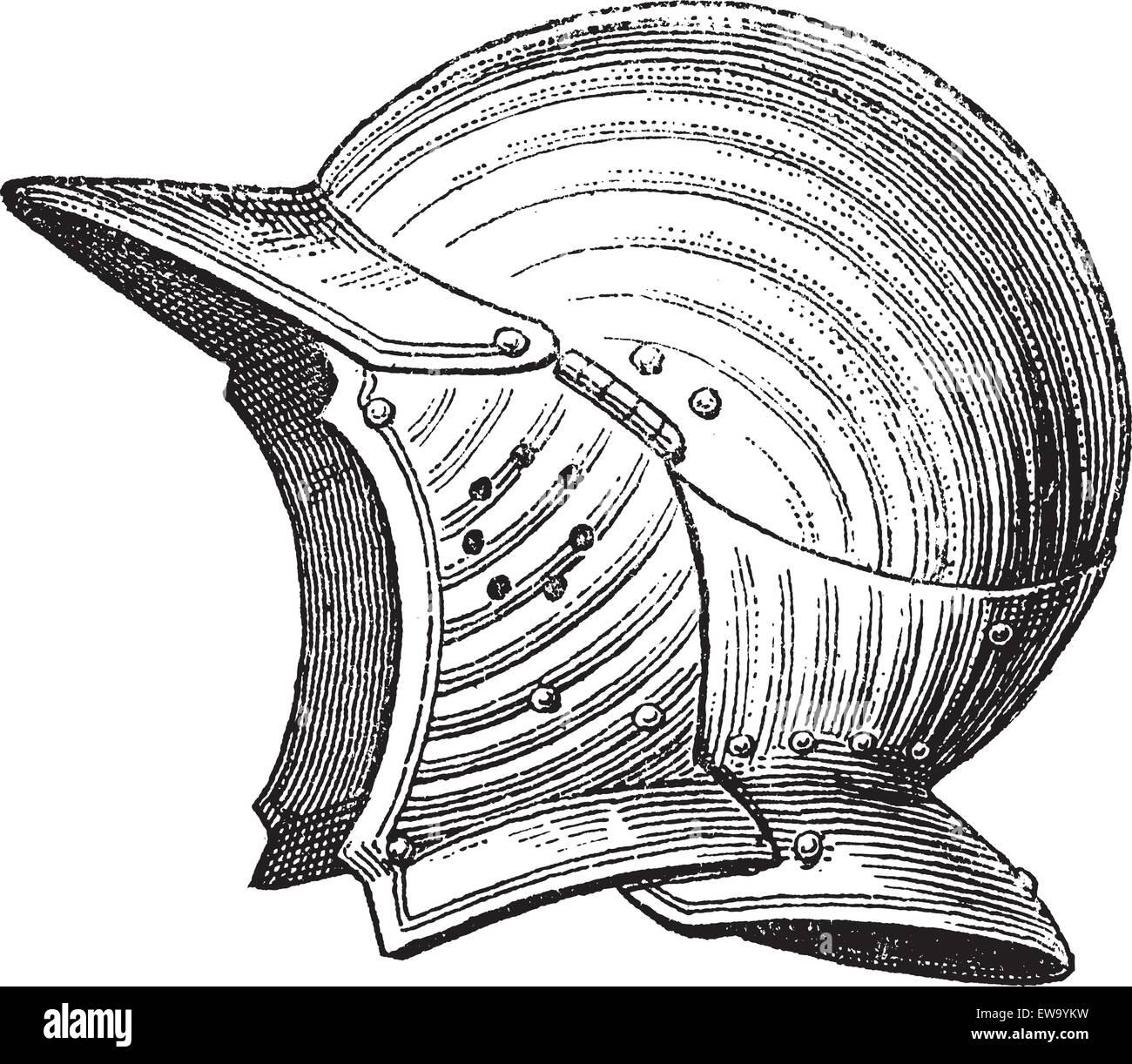 0ca234e71a0e9 Pot la cabeza o casco o galea vintage grabado. Antigua ilustración grabada  de casco antiguo