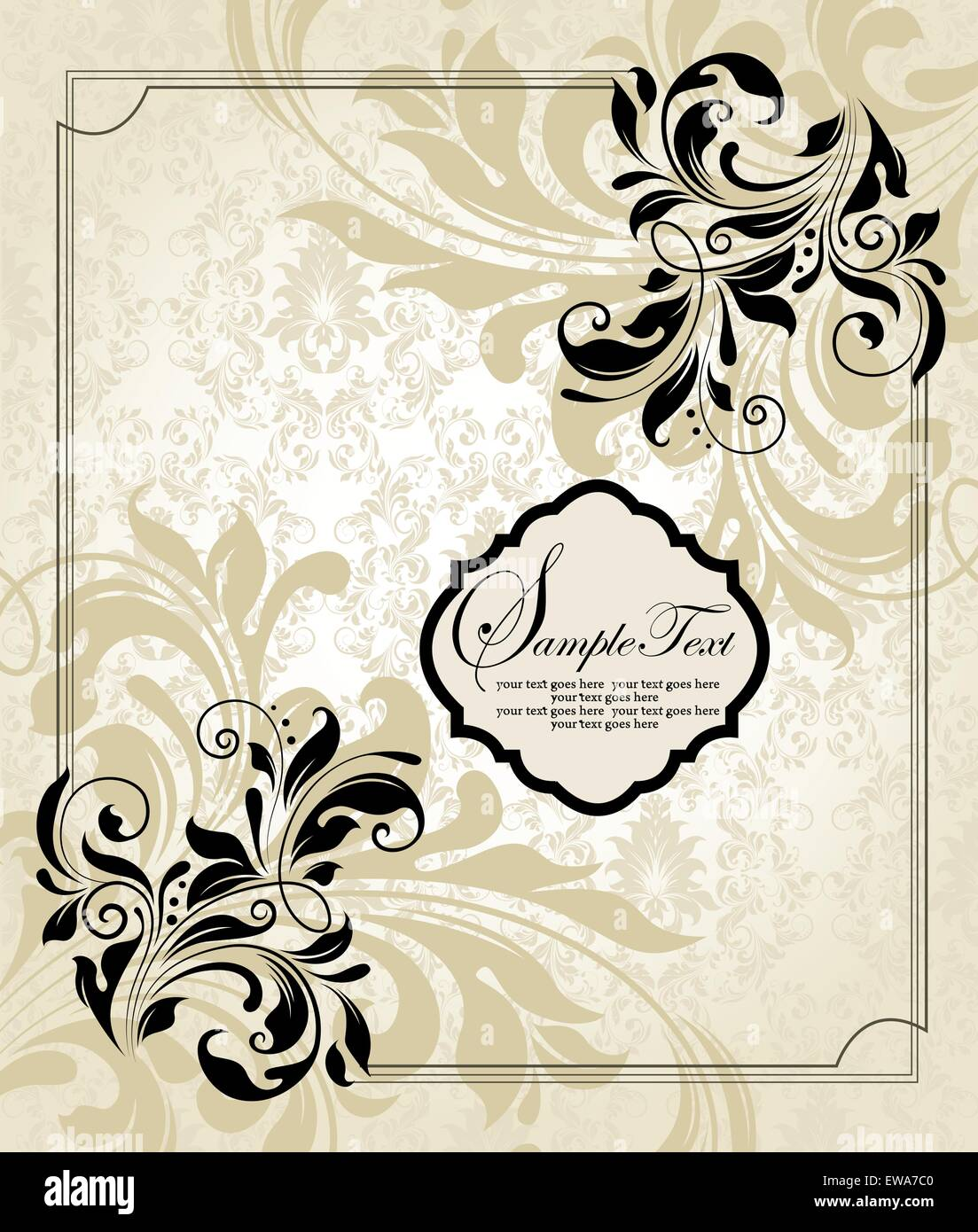Tarjeta de invitación Vintage Retro elegante adornados con diseño ...