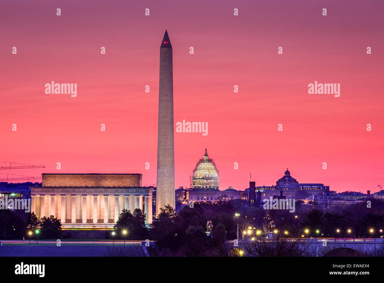 Washington DC, EE.UU., la línea del horizonte. Foto de stock