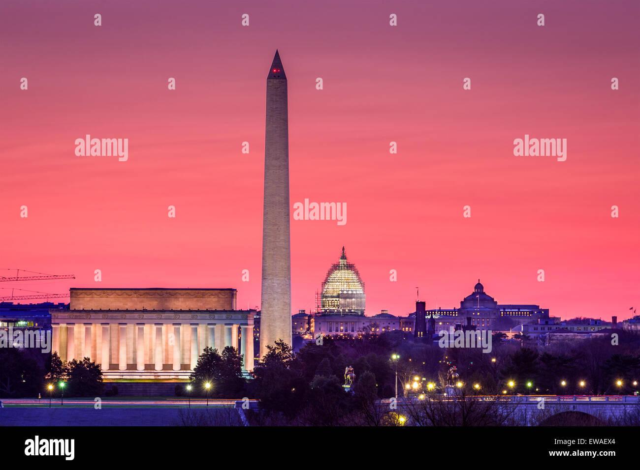 Washington DC, EE.UU., la línea del horizonte. Imagen De Stock