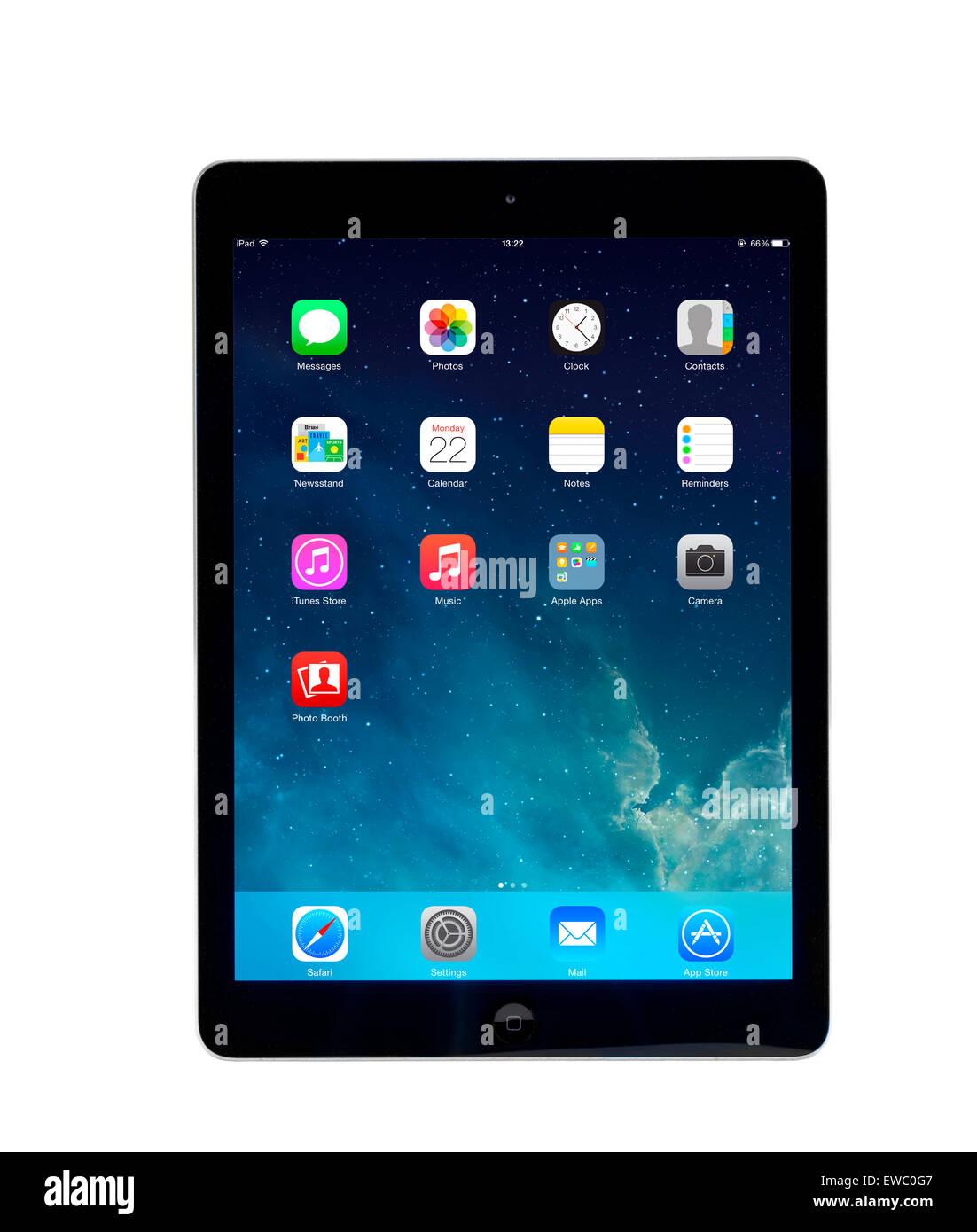 Pantalla de inicio en un equipo tablet PC Apple iPad aire Imagen De Stock