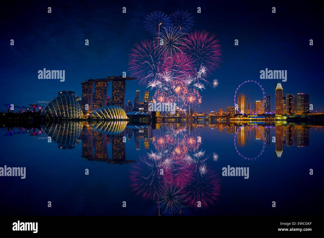 Singapur Fireworks Imagen De Stock