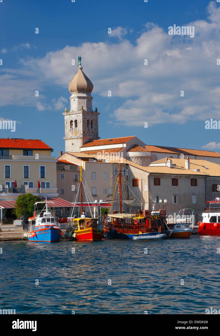 Krk Old Town Waterfront. Isla Krk de Croacia Imagen De Stock