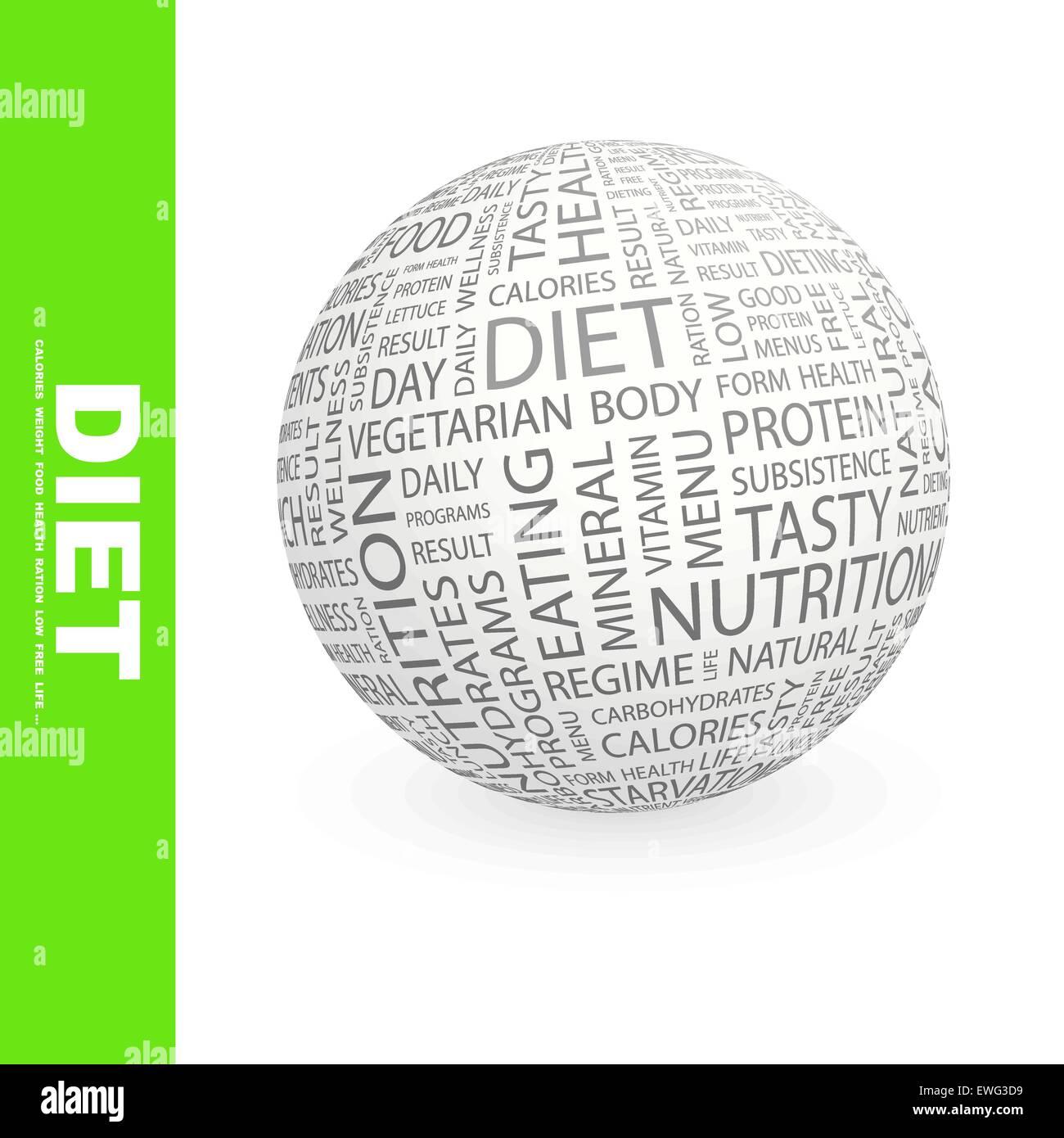 Dieta. Palabra nube ilustración del concepto. Wordcloud collage. Imagen De Stock