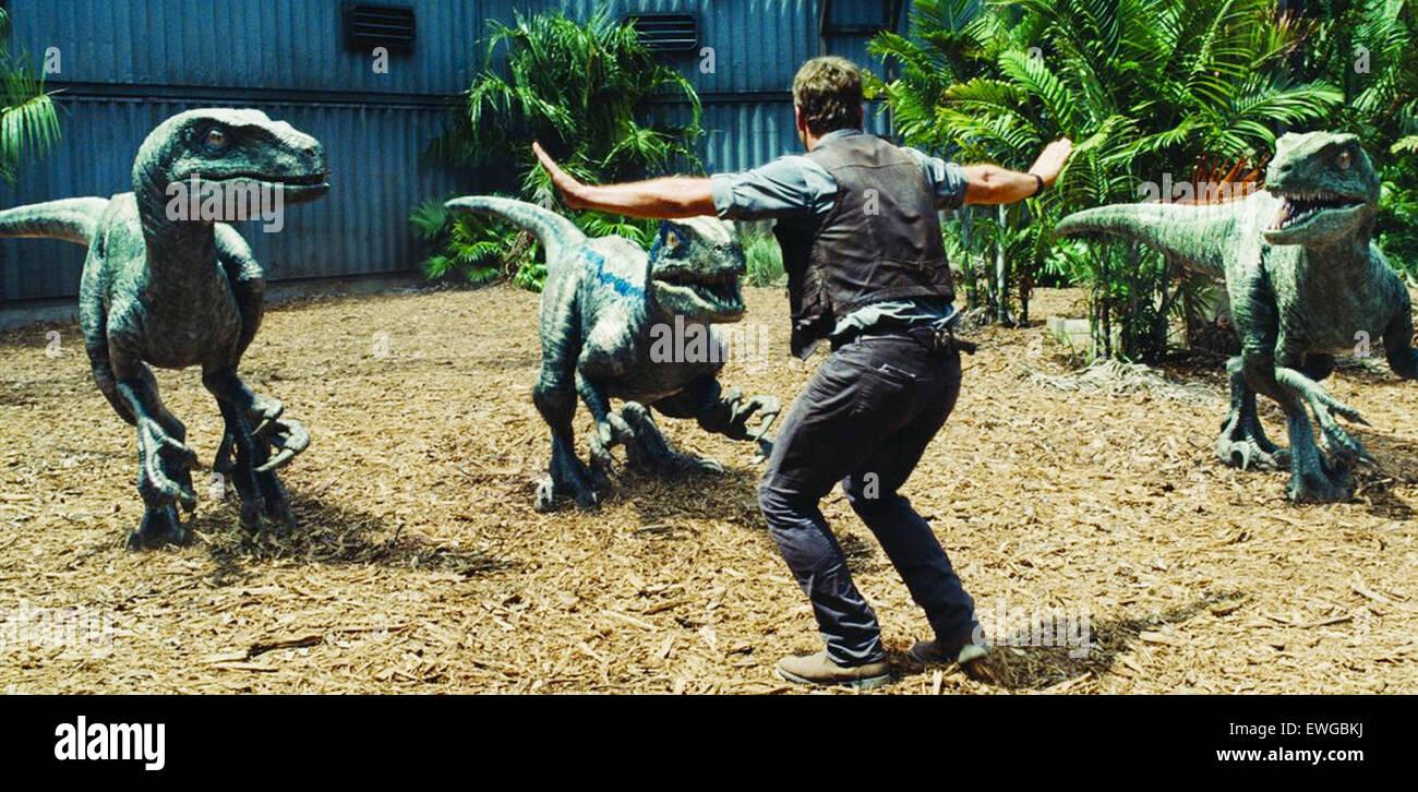 Mundo jurásico 2015 Universal Pictures Film con Chris Pratt Imagen De Stock