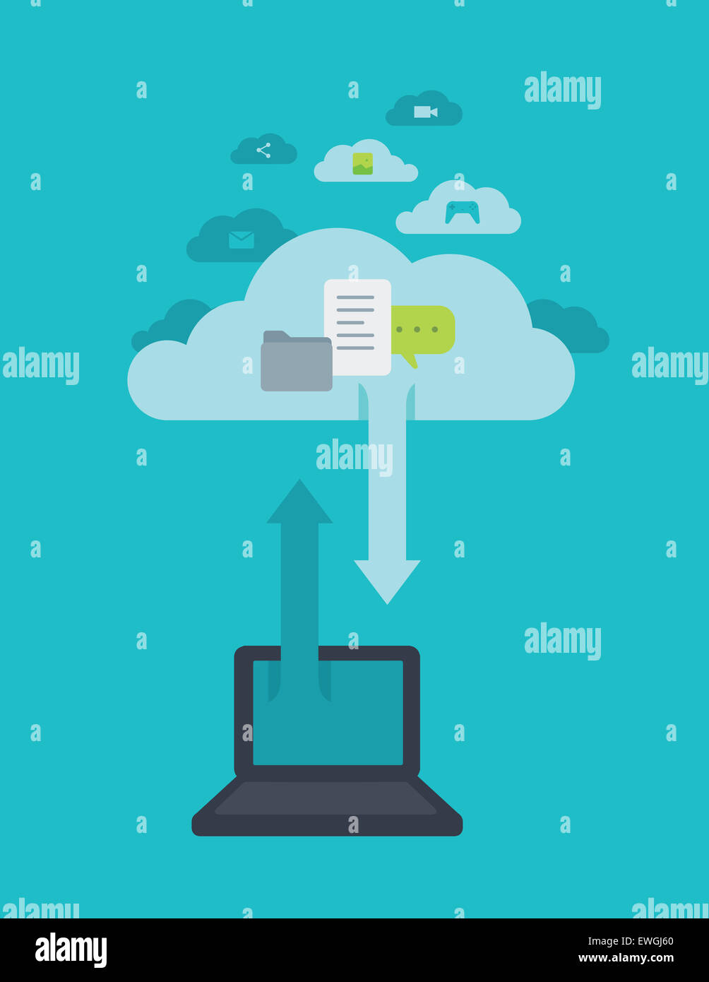Imagen ilustrativa del portátil con el símbolo de la flecha en el cielo que representa el cloud computing Imagen De Stock