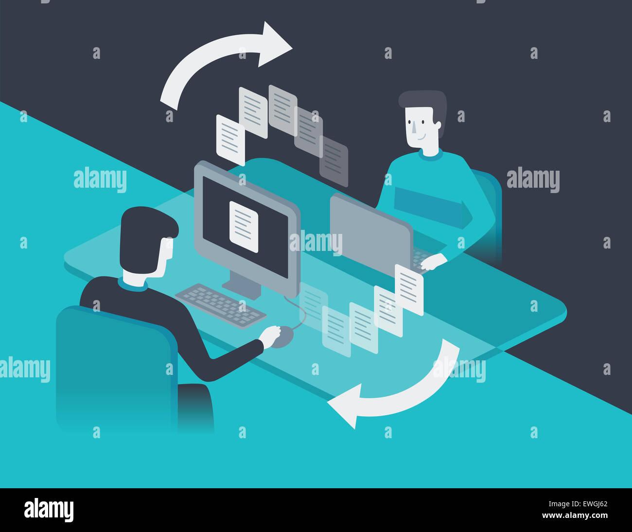 Empresario transferir carpetas a su colega Imagen De Stock