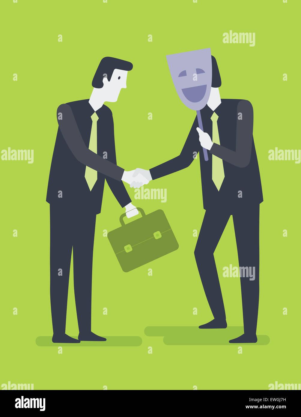 Empresario un apretón de manos con su compañero escondido detrás de la máscara Imagen De Stock