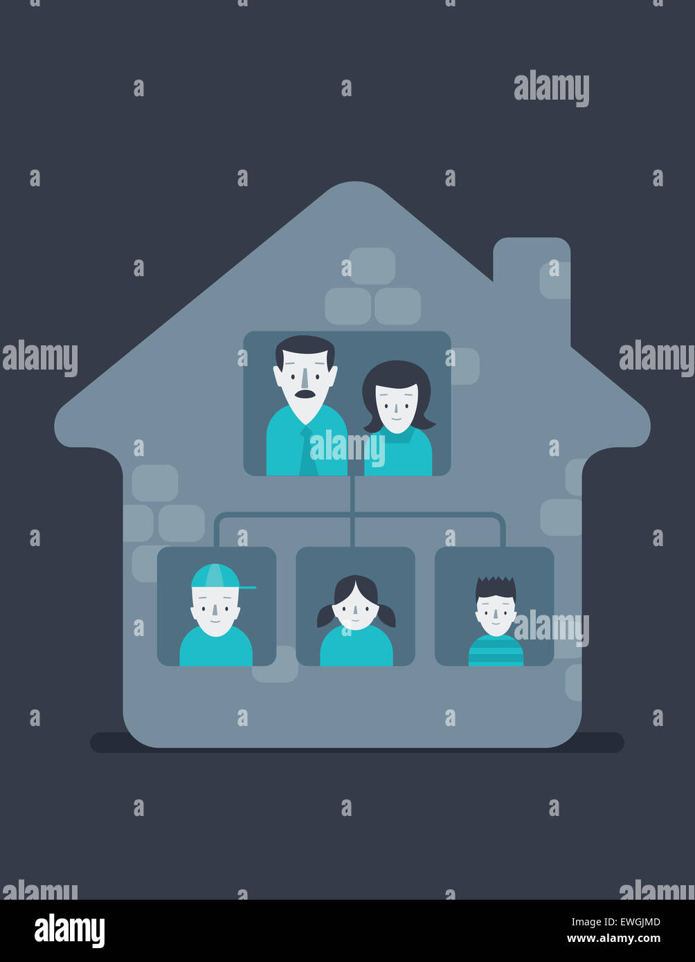 Retrato de familia feliz en casa Imagen De Stock