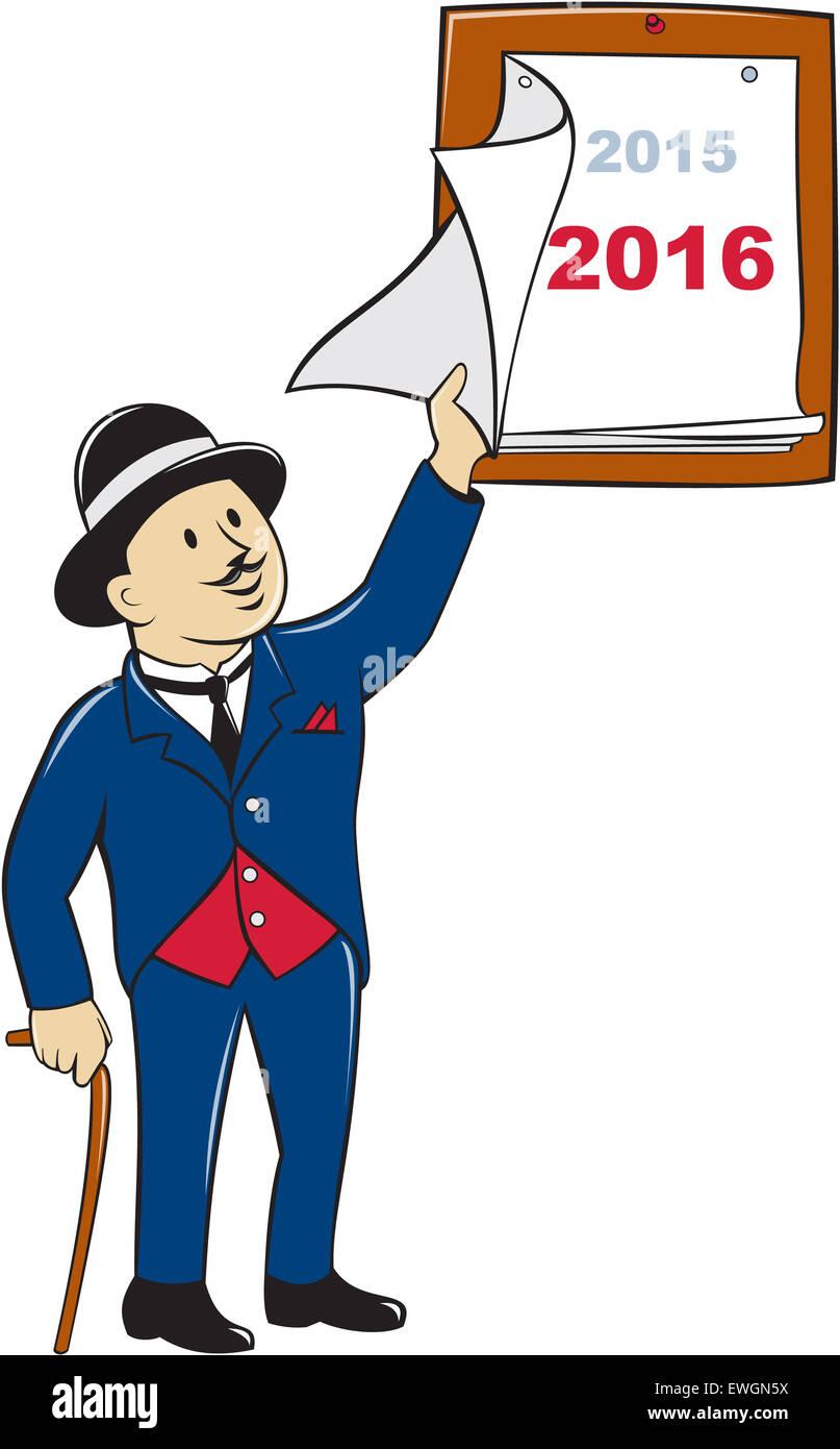 Ilustración de un viejo hombre vestido con sombrero de caña con pelando una  página del calendario e0f341070f6