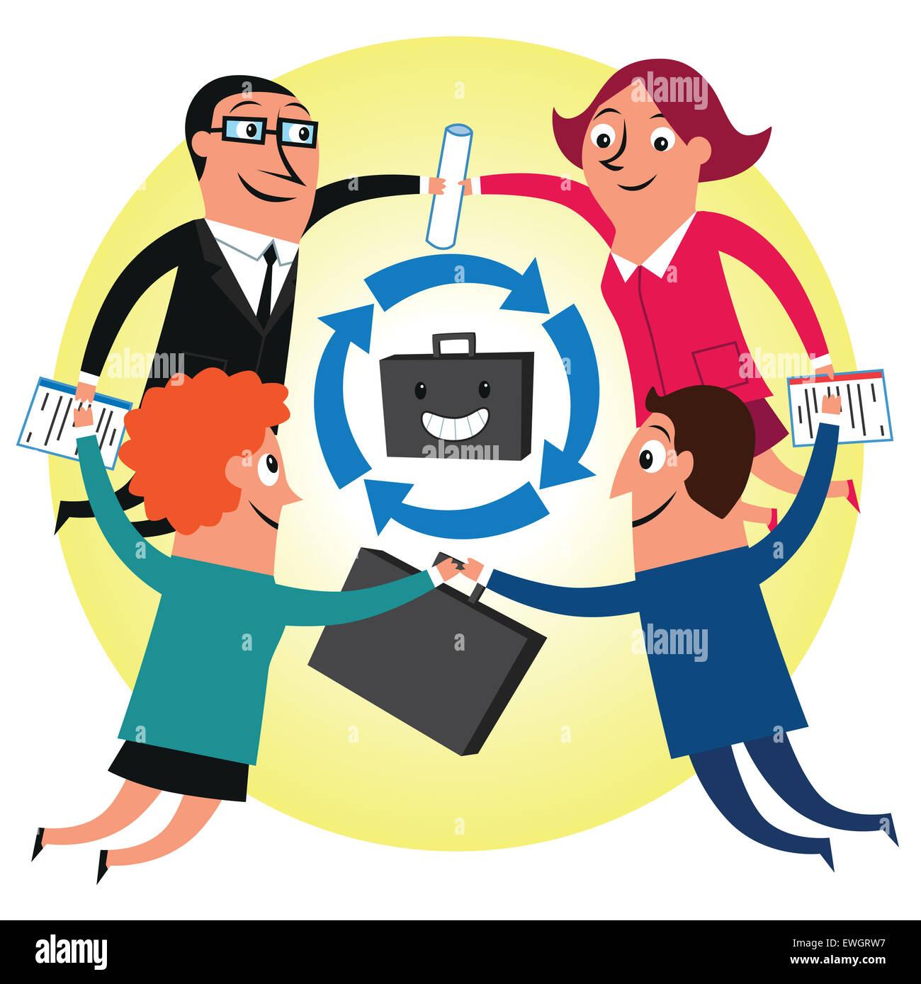 La gente de negocios que muestra el espíritu de trabajo en equipo Imagen De Stock
