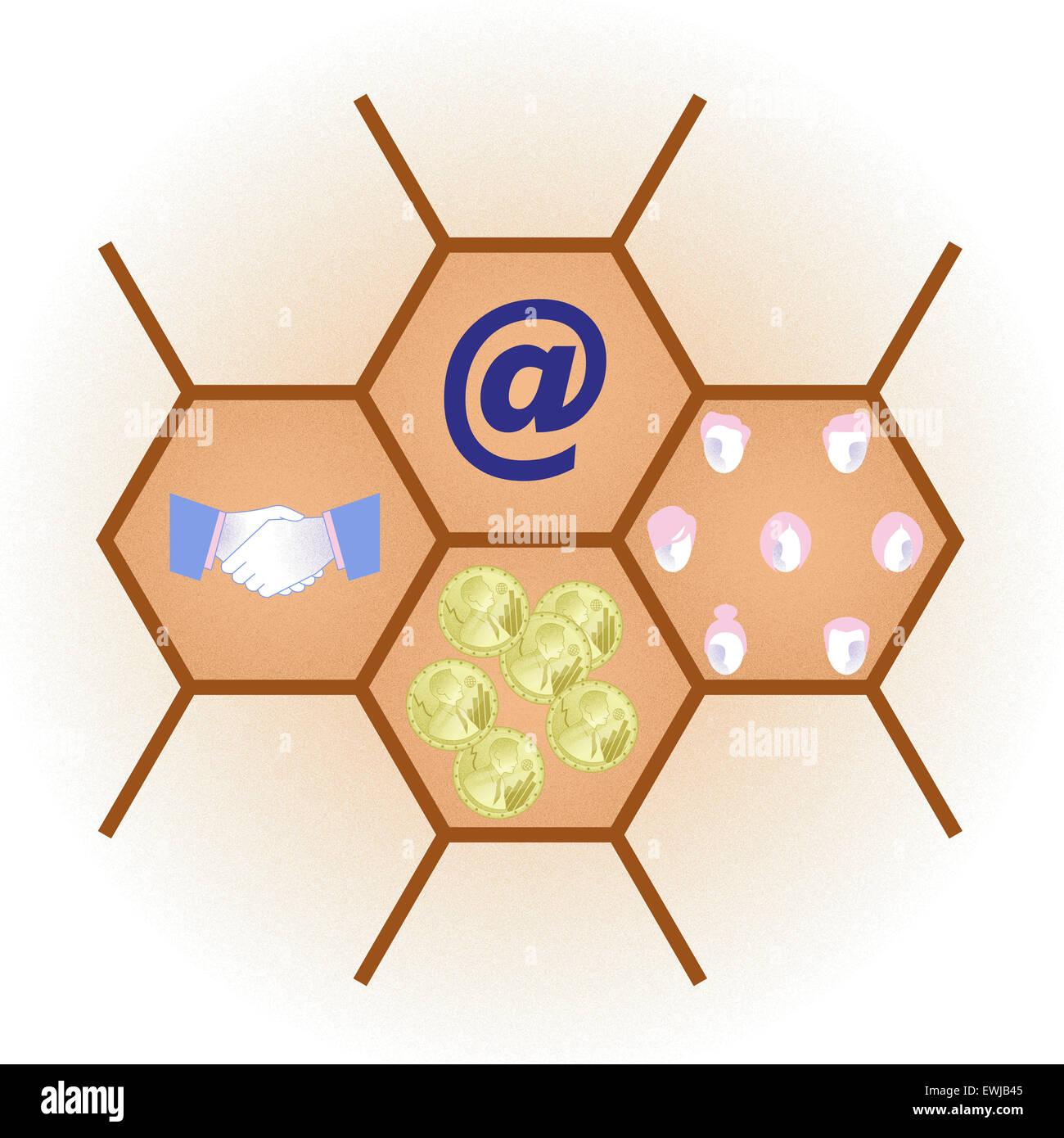 Imagen conceptual que representa los conceptos de la fusión de dos empresas y el crecimiento de los negocios Imagen De Stock