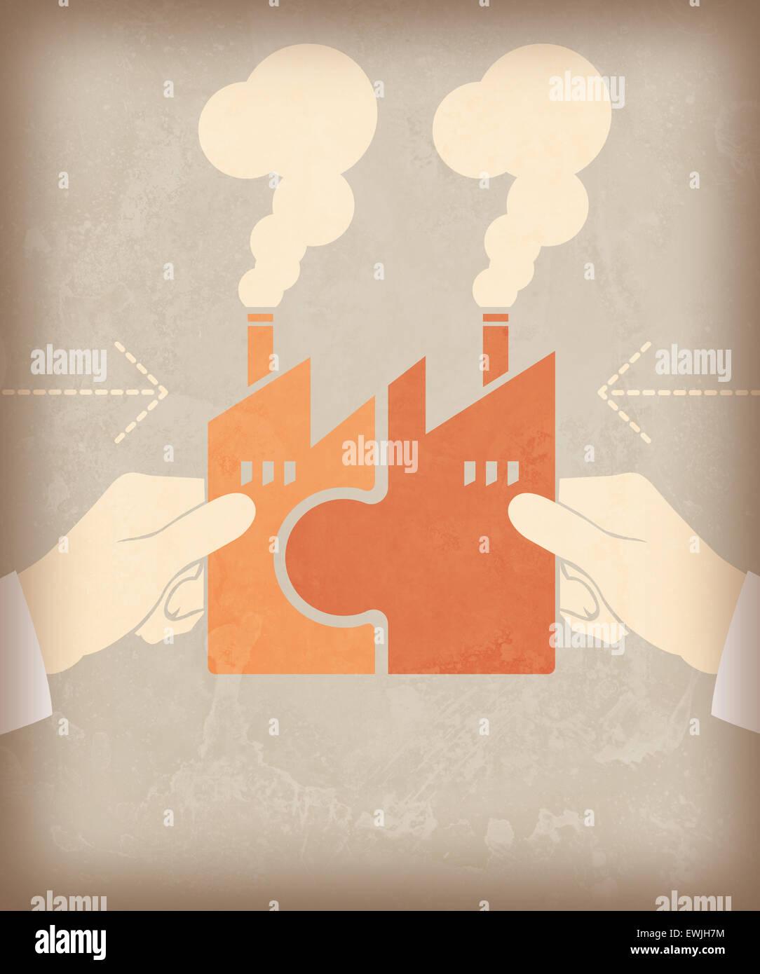 La fusión de dos empresas juntos para el éxito de la nueva empresa. Imagen De Stock