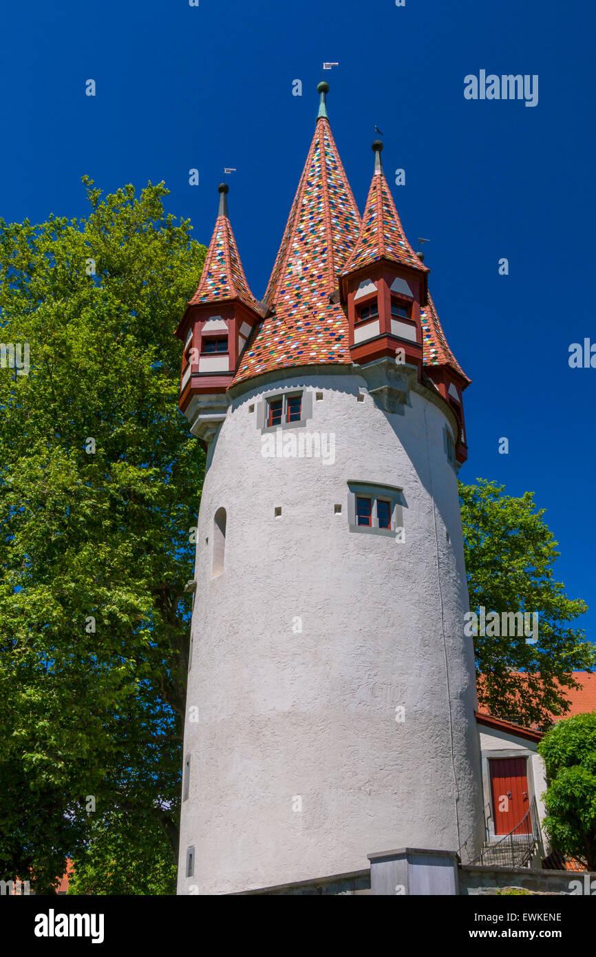 En Schrannenplatz Diebsturm, Lindau, Baviera, Alemania, Europa Foto de stock