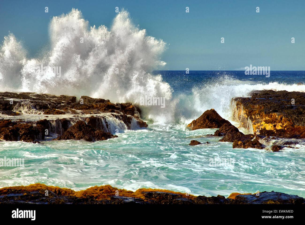Ola rompiendo. Hawai, la Isla Grande. Foto de stock