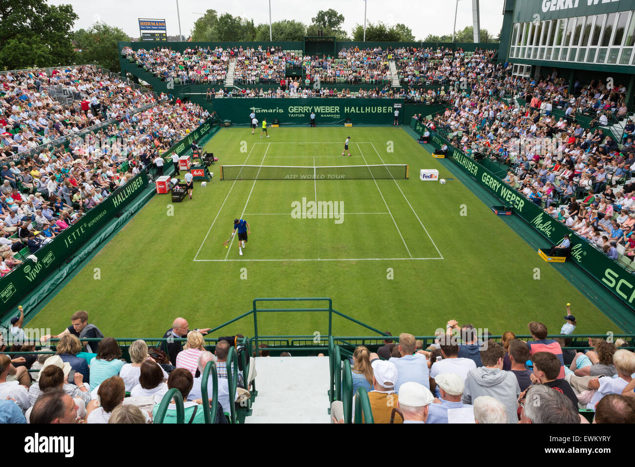 Una atestada corte número 1 en las rondas de clasificación de la ATP Gerry Weber Open tenis Campeonato Imagen De Stock