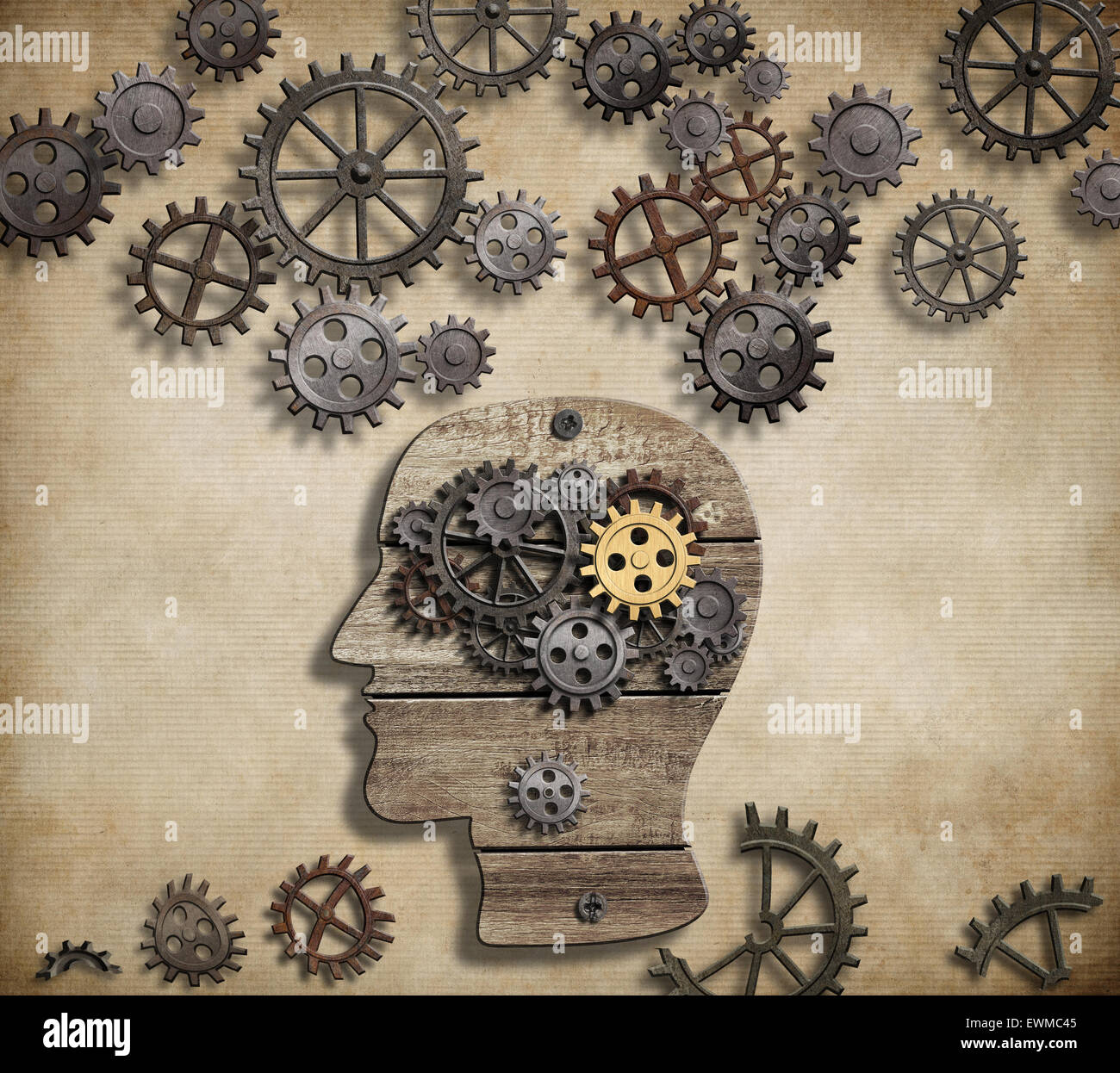 La actividad mental del cerebro, la psicología, la invención y la idea de concepto Imagen De Stock