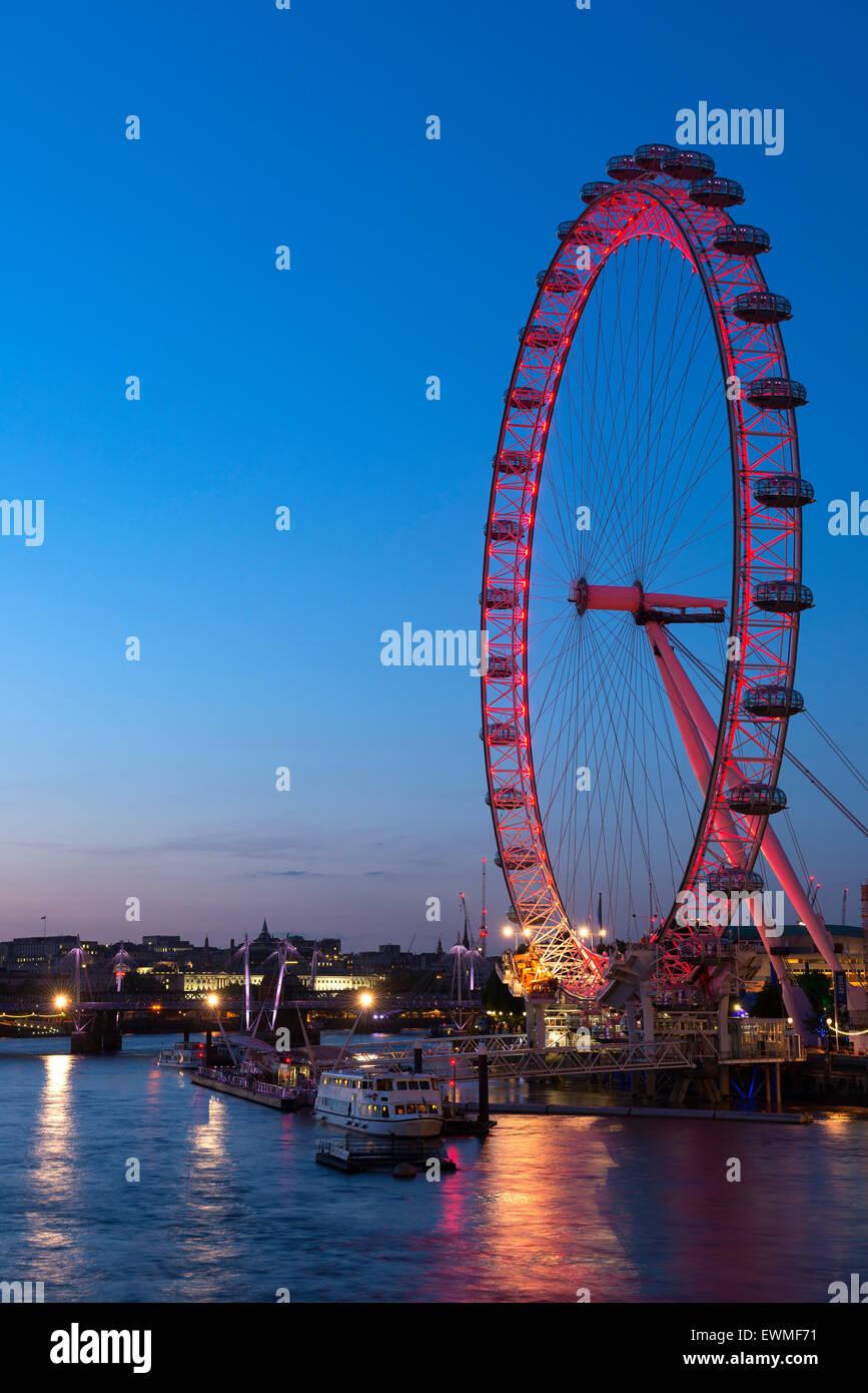 El London Eye, la Rueda del Milenio, Londres, Inglaterra, Reino Unido Imagen De Stock