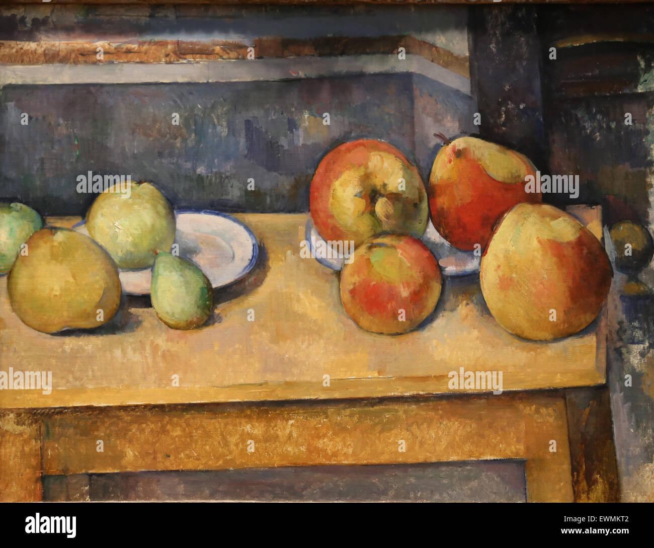 Paul Cezanne (1839-1906). El pintor francés. Bodegón con peras y manzanas, ca. 1891-92. Óleo sobre Imagen De Stock