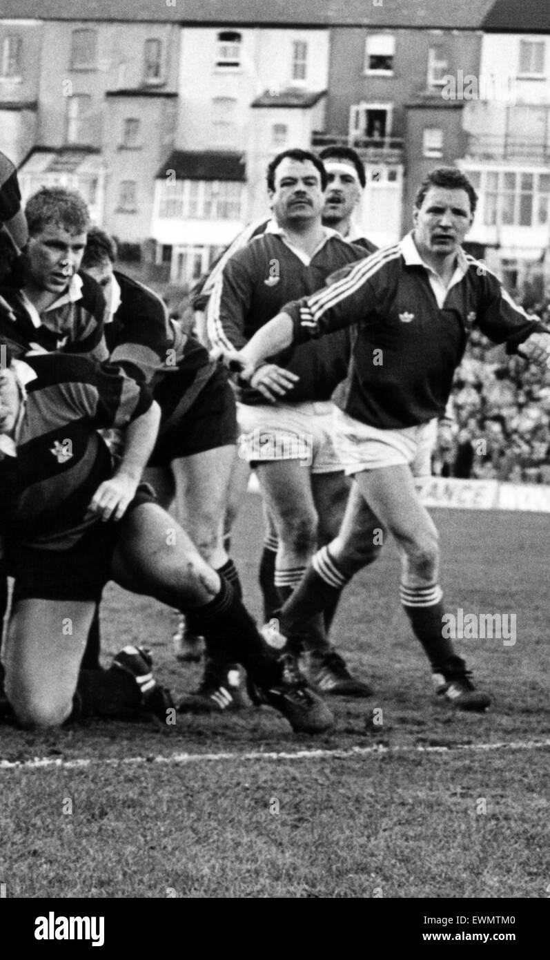 Jugador de rugby Llanelli David Fox. El 27 de marzo de 1988. Foto de stock