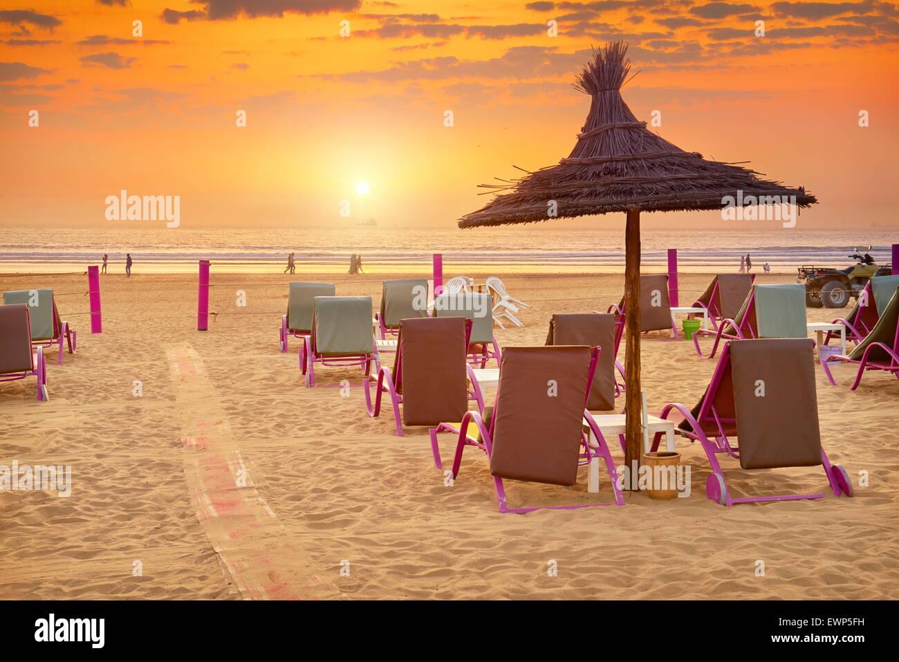 Agadir - atardecer en la playa, Marruecos Imagen De Stock
