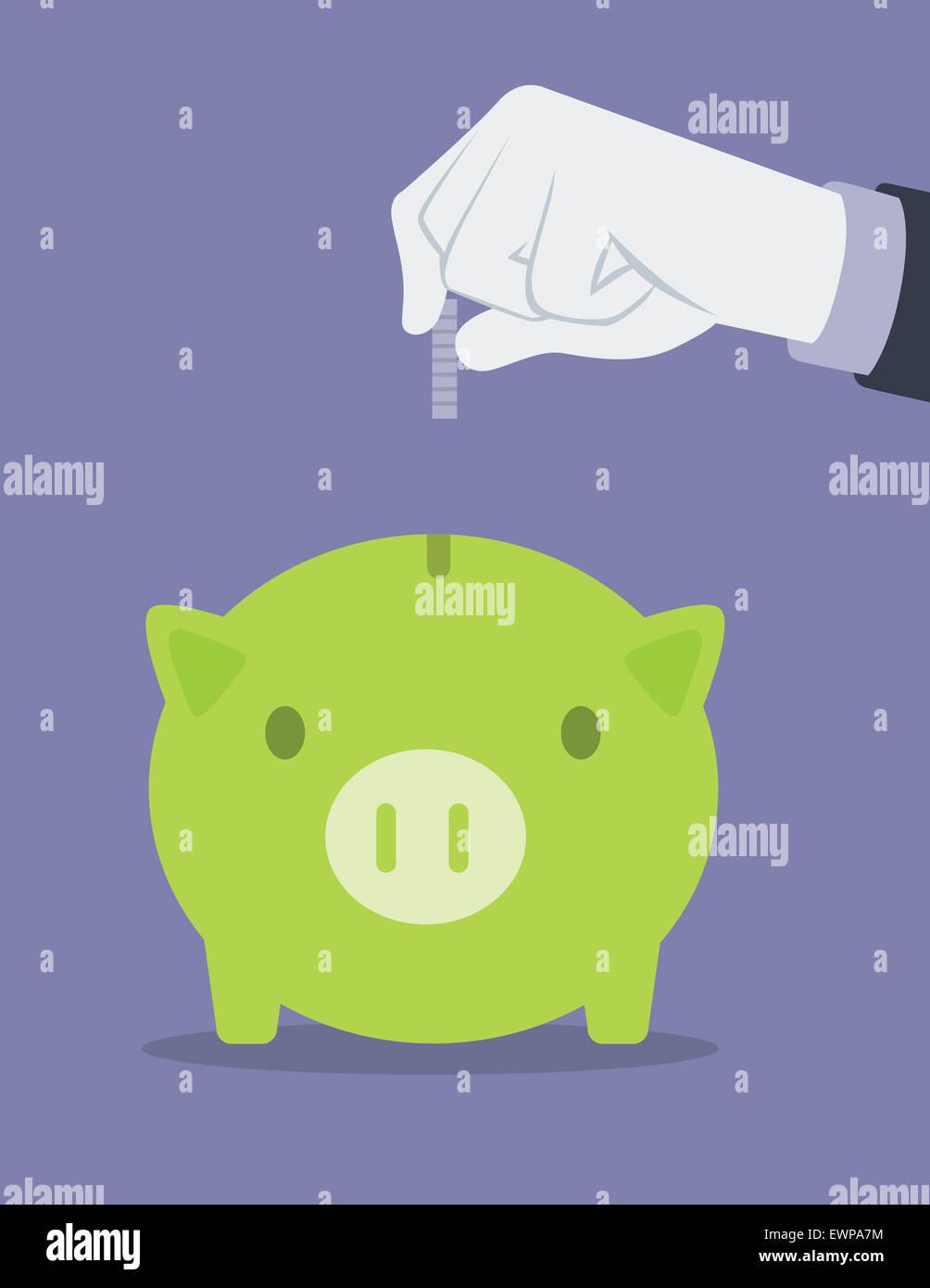 Empresario insertar una moneda en la hucha Imagen De Stock