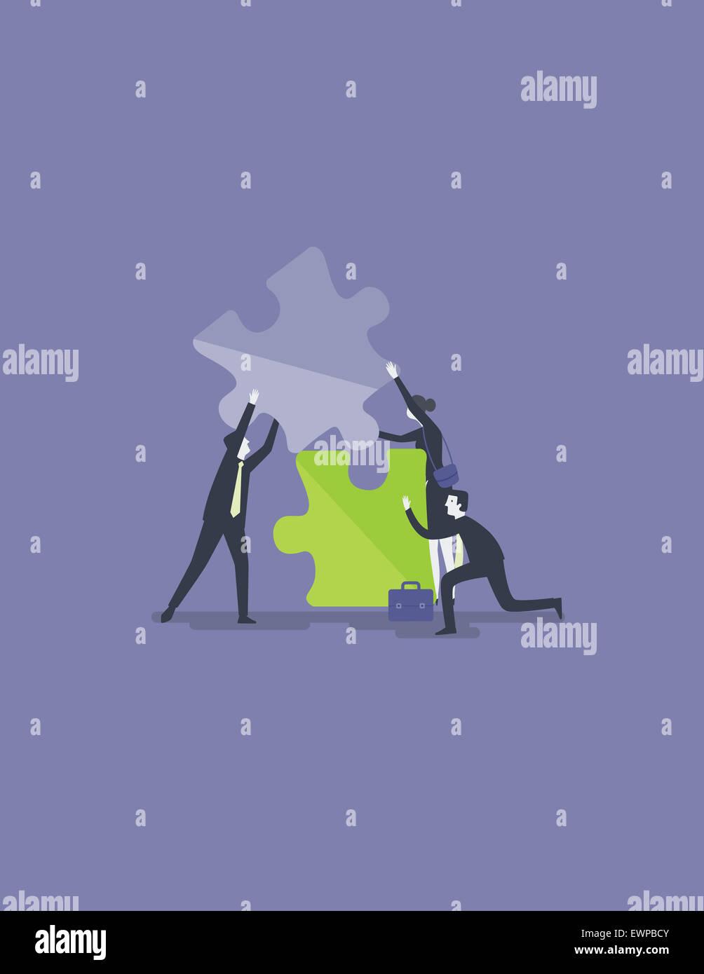 La gente de negocios la fijación de pieza del rompecabezas para solución para colaborar o combinar Imagen De Stock