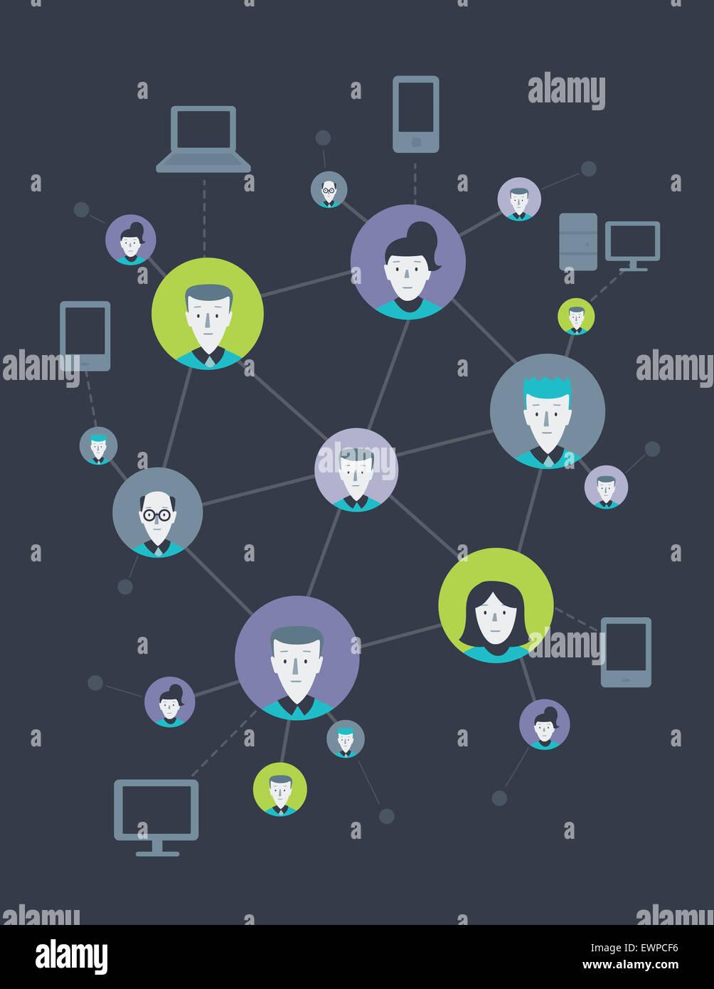 Imagen ilustrativa de personas conectadas unas con otras que representan las redes sociales Imagen De Stock