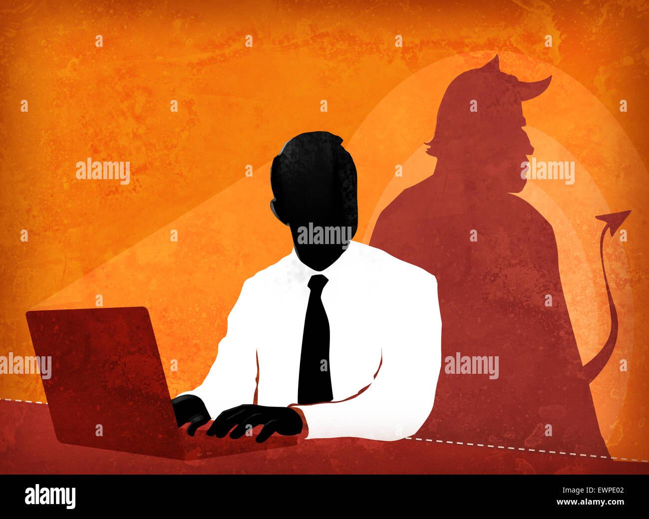 Empresario haciendo propaganda falsa Imagen De Stock
