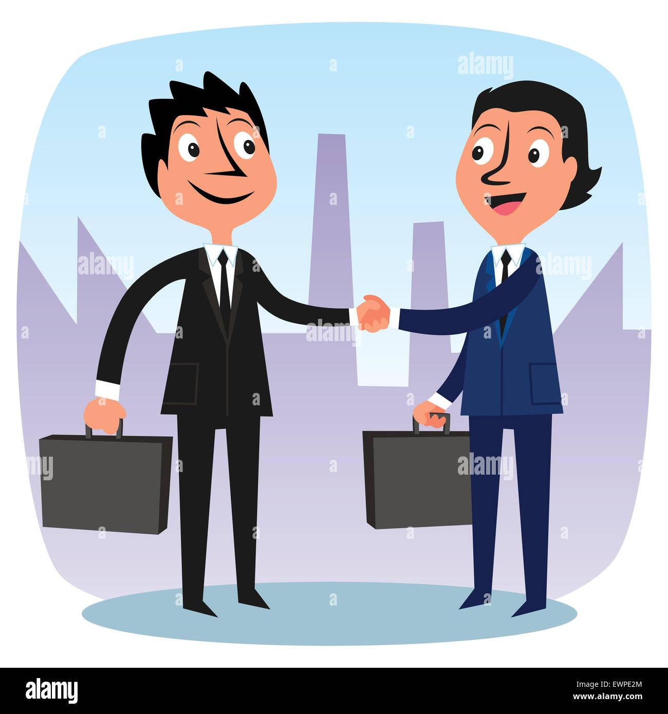 Dos hombres de negocios, felicitando por nueva alianza Imagen De Stock