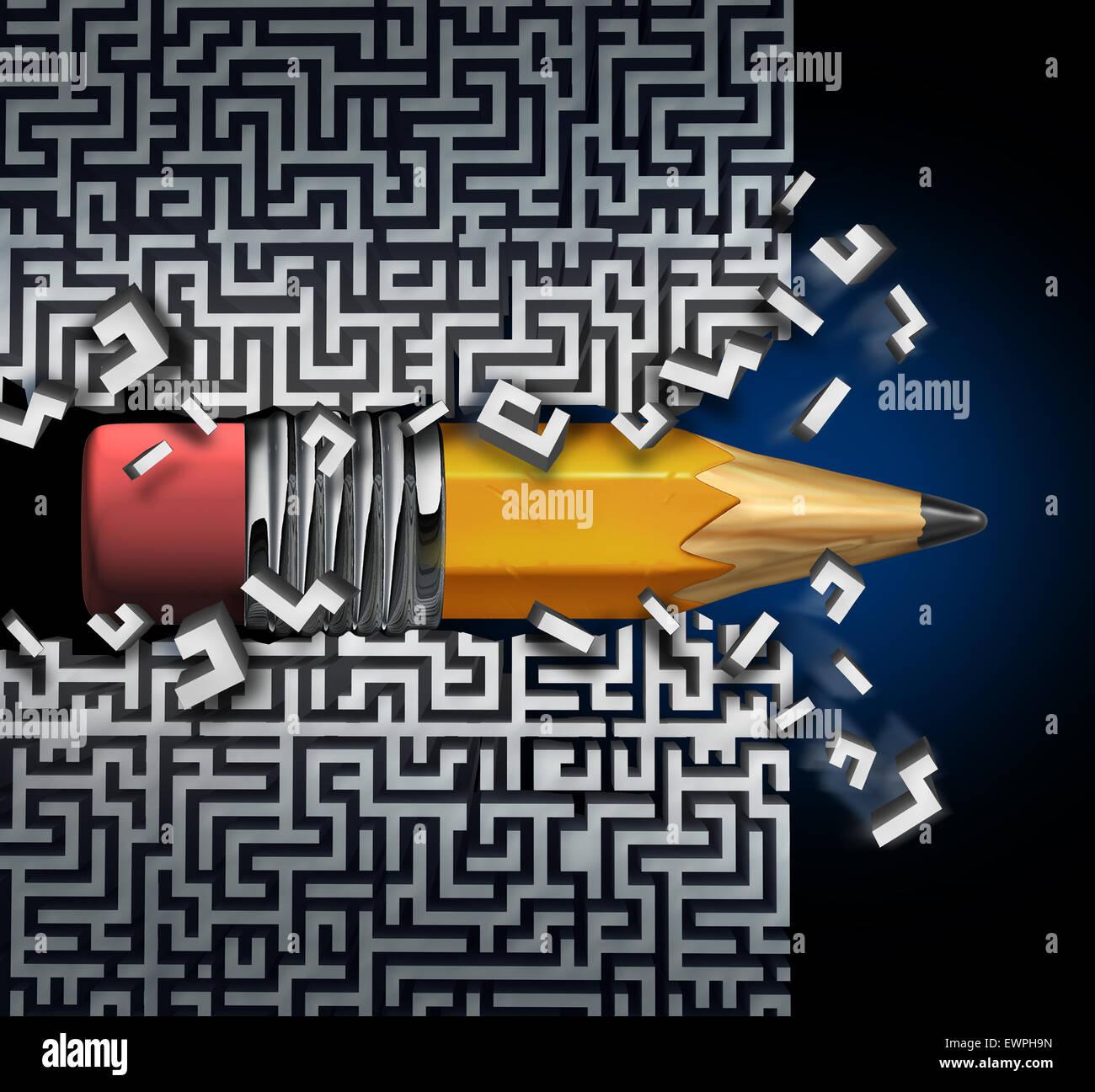 Solución innovadora plan como un lápiz tratando de encontrar la forma de salir del laberinto romper el Imagen De Stock
