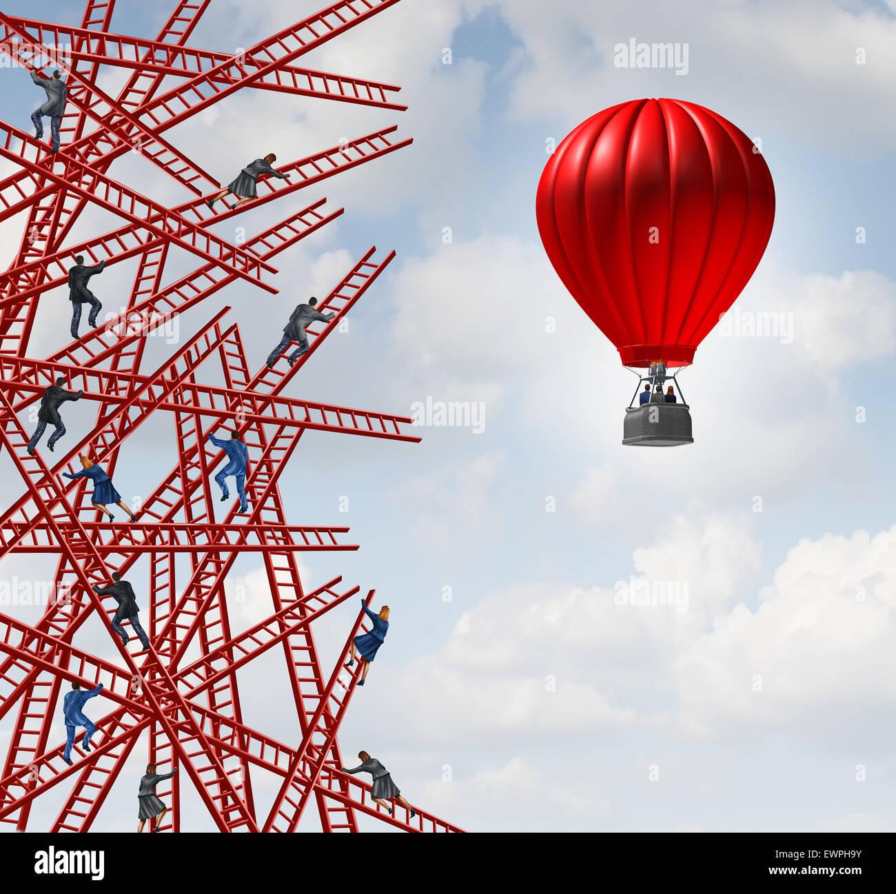 Nueva estrategia y pensador independiente símbolo y nuevo pensamiento innovador concepto de liderazgo o la Imagen De Stock