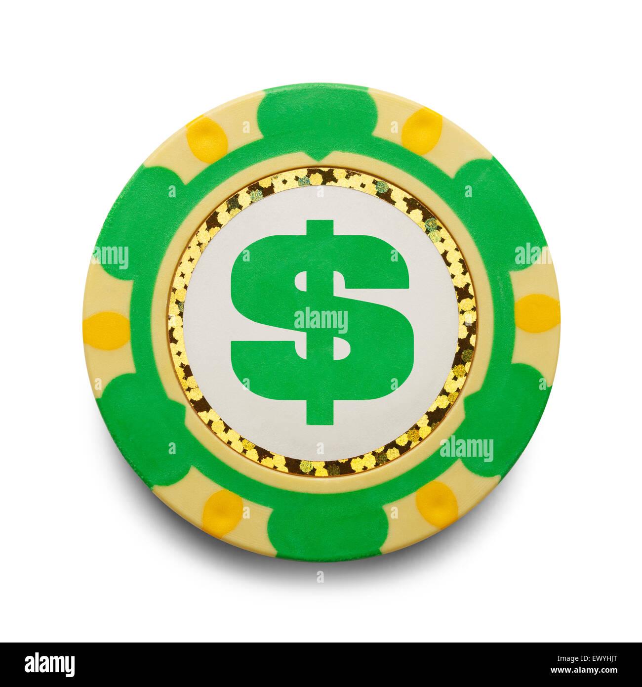 Fichas de casino con dinero símbolo aislado sobre fondo blanco. Imagen De Stock