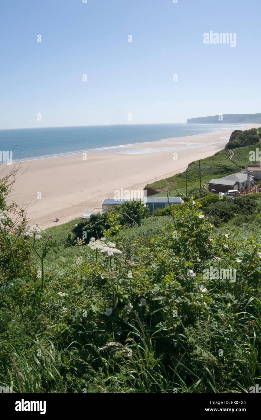 Brecha hunmanby beach en Yorkshire playas de arena arena amplio espacio abierto espacios Imagen De Stock