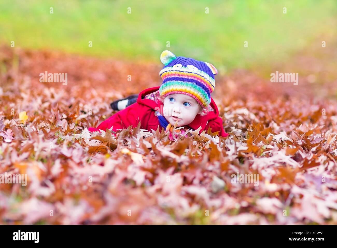 Gracioso bebé niña jugando con coloridas hojas rojizas Imagen De Stock