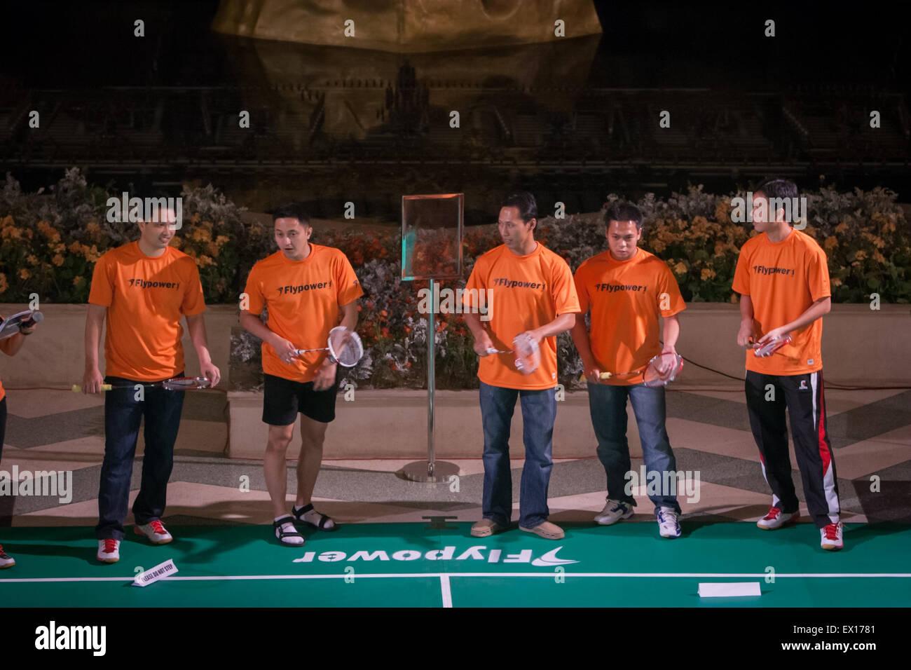 Badminton indonesio leyendas Haryanto Arbi, Ricky Subagja, Sigit Budiarto, Markis Kido y Hendra Setiawan durante Imagen De Stock