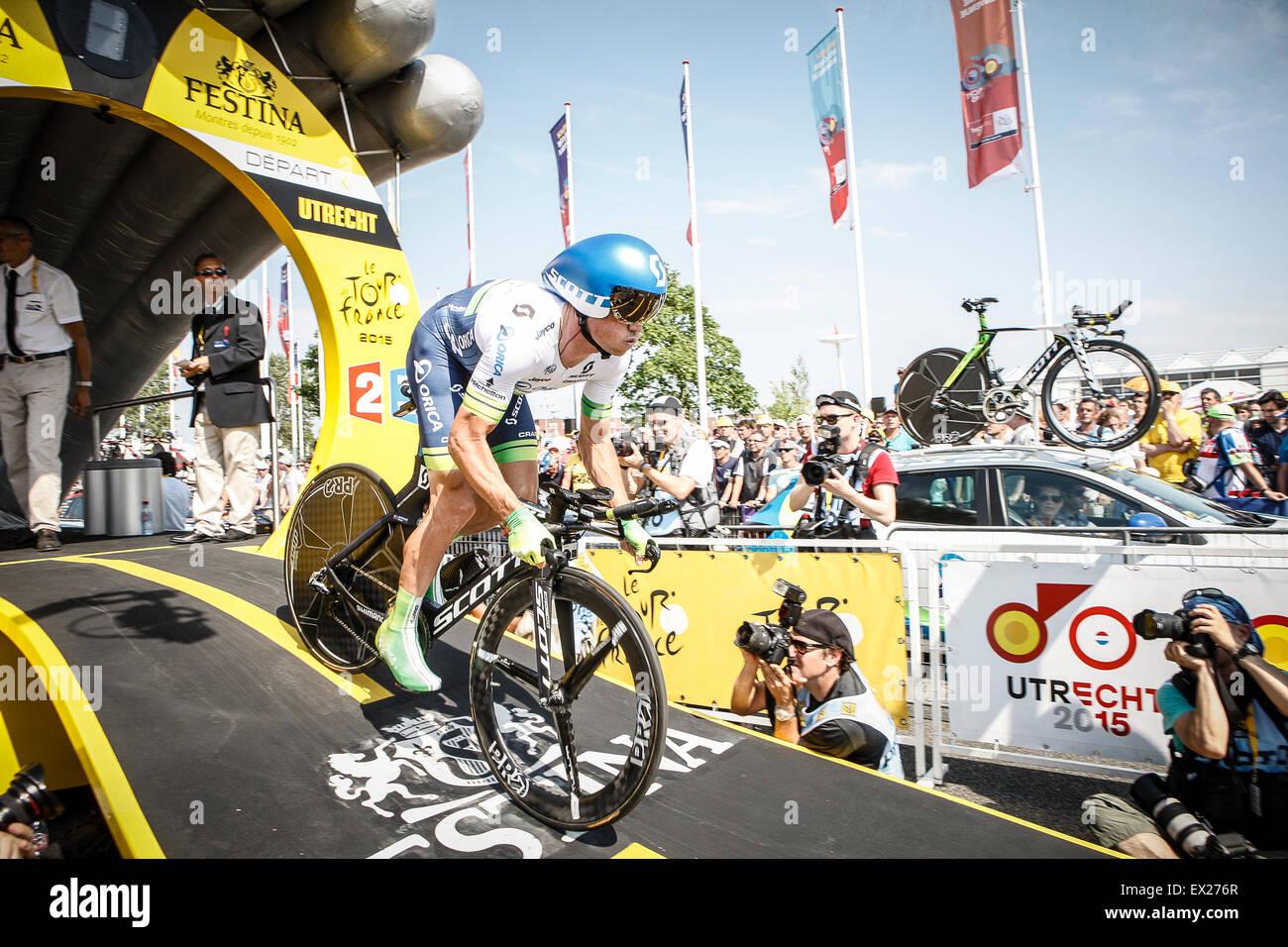 Utrecht, Países Bajos. El 4 de julio de 2015. Tour de Francia etapa contrarreloj, Simon GERRANS, equipo Orica Imagen De Stock