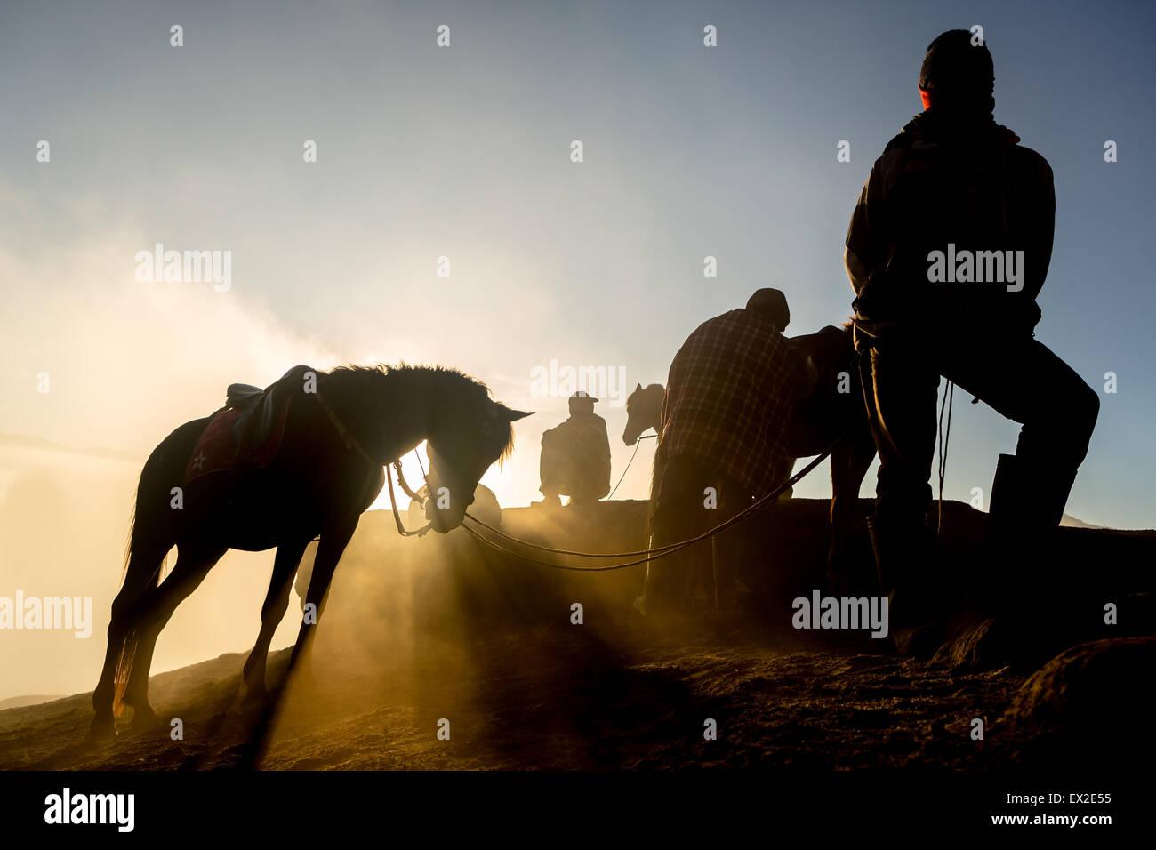 Las siluetas de los hombres y de los caballos en la cima de la colina con atmósfera brumosa Imagen De Stock