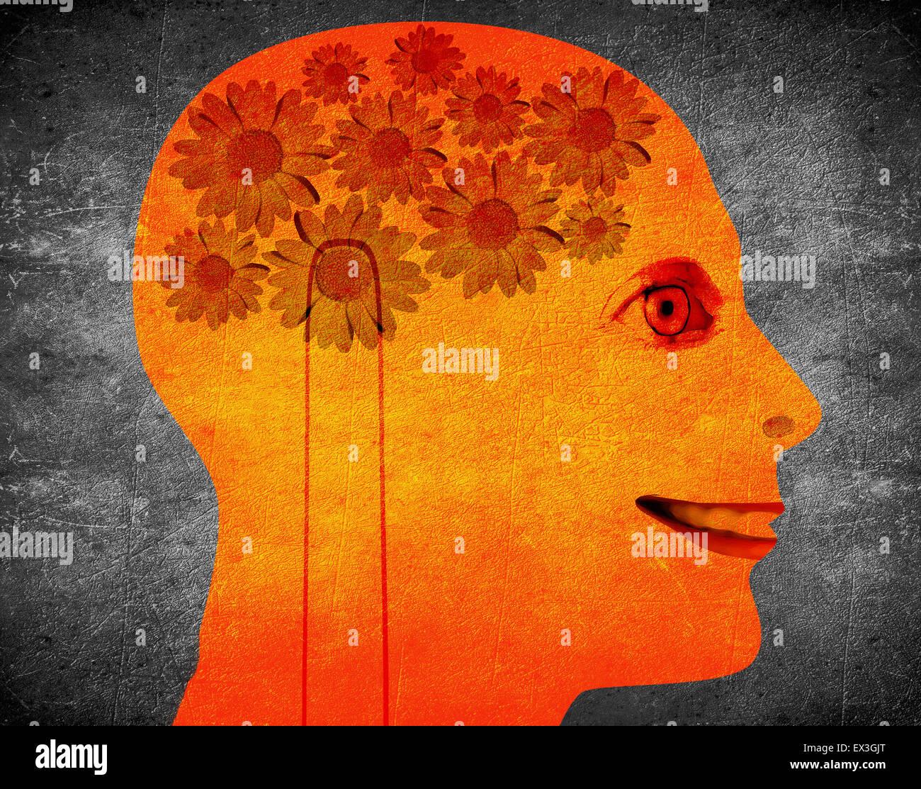Ilustración del concepto de creatividad con cabeza naranja y flor de margarita Foto de stock