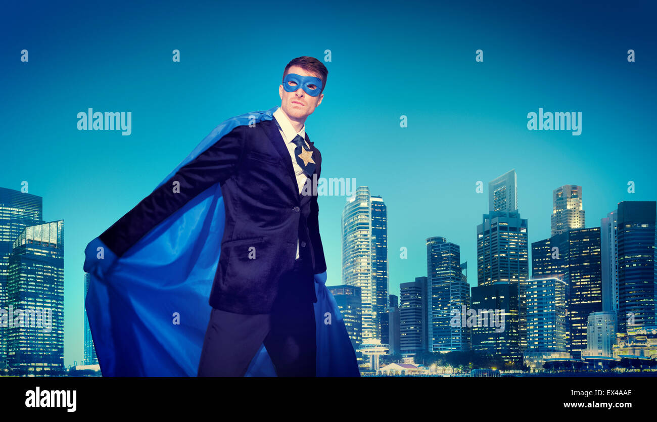 Potente de negocios conceptos paisaje superhéroe Imagen De Stock