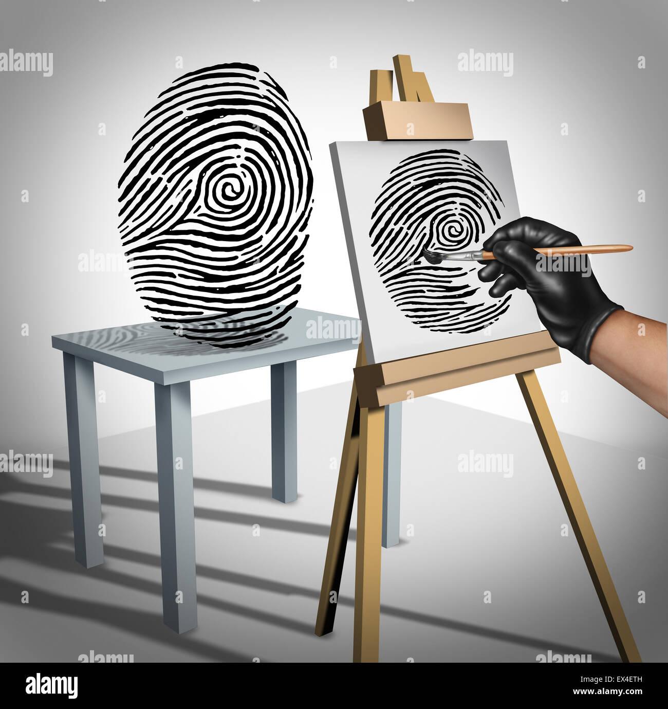 Concepto de robo de identidad como un criminal pintar una copia de una huella como un símbolo de seguridad Imagen De Stock